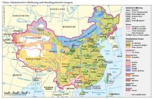 Verwaltungsgliederung und Ethnien in China (Karte)