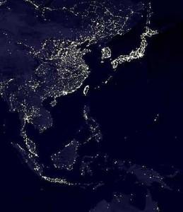 China und Ostasien bei Nacht (Satellitenaufnahme)