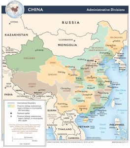 China - Verwaltungsgliederung (Karte in Englisch)
